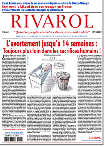 Rivarol n°3442 du 14/10/2020 (Papier)