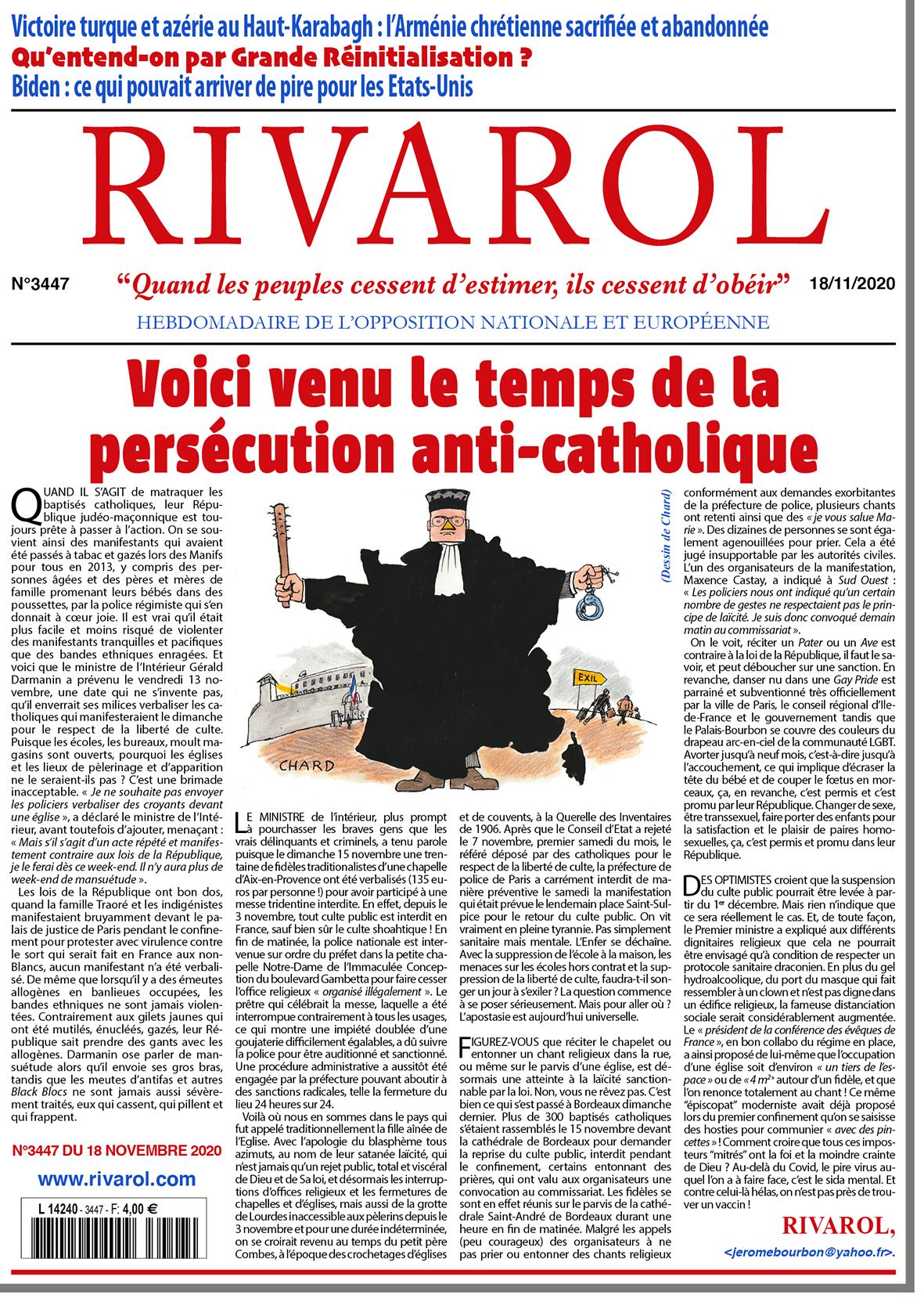 Rivarol n°3447 du18/11/2020