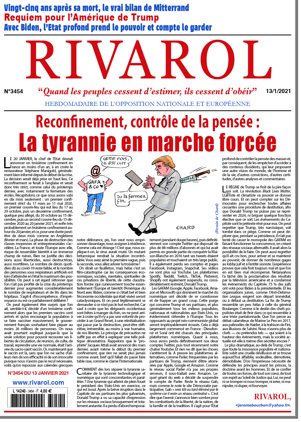 Rivarol n°3454 du 13/1/2021