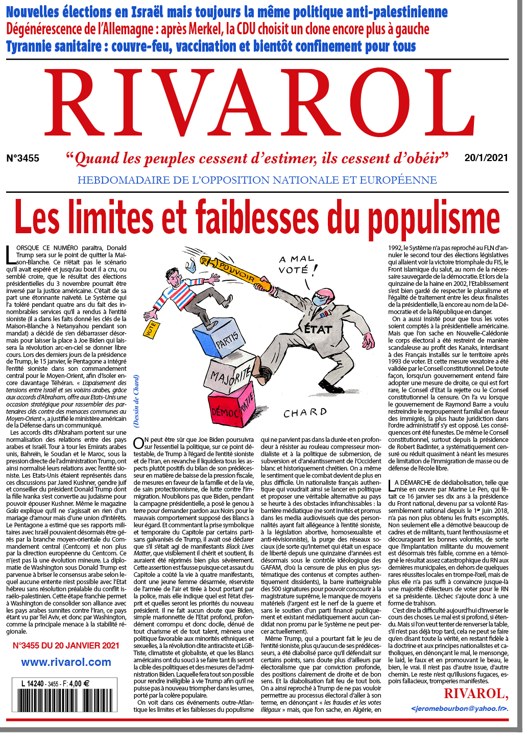Rivarol n°3455 du 20/1/2021