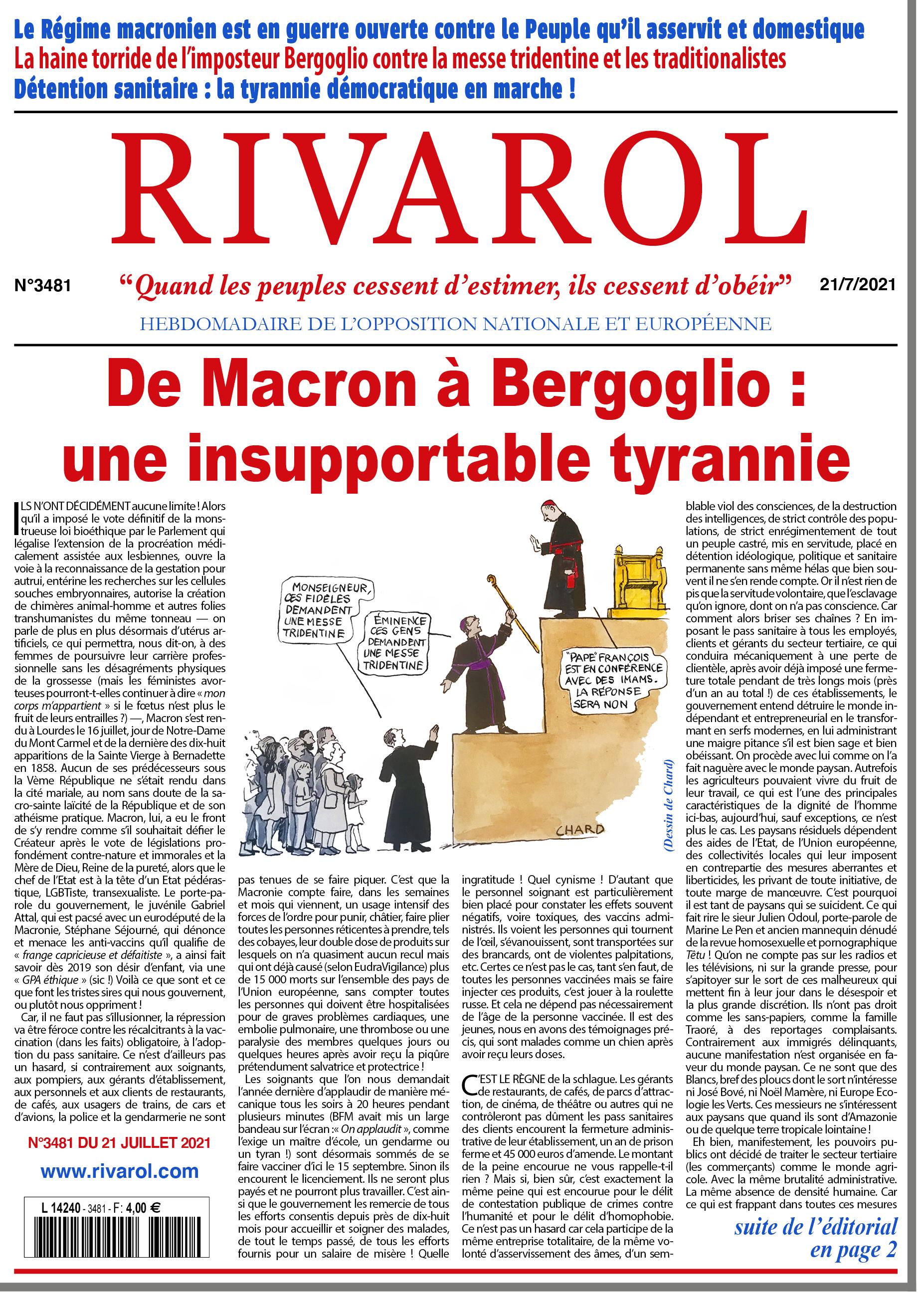 Rivarol n°3481 du 21/7/2021