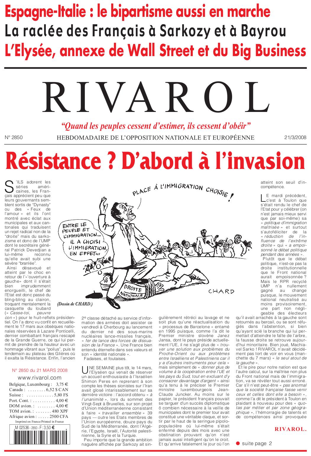 Rivarol n°2850 version numérique (PDF)
